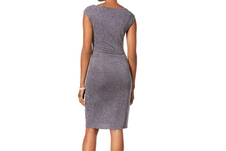 Jessica Howard Women's Dress Gray Size 14 Sheath Shimmer Gathered