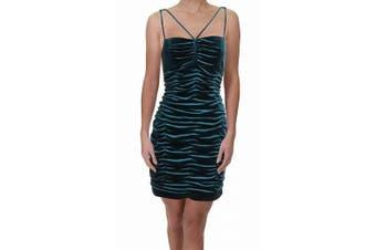 Aidan Aidan Mattox Women's Dress Teal Blue Size 8 Sheath Velvet