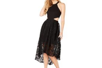 Avec Les Filles Women's Dress Black Size 8 Sheath High-Low Cutout