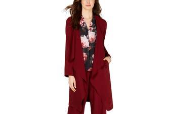 Nine West Women's Jackets Red Size Large L Flyaway Ruffle Pockets