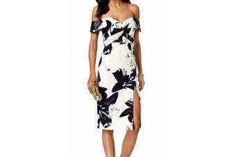 Bardot Women's Dress White Size 6 Sheath Floral Print Off Shoulder