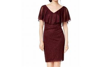 Connected Apparel Women's Dress Purple Size 12P Petite Sheath Metallic