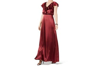 Adrianna Papell Women's Dress Wine Red Size 0 Ruffle Satin Gown