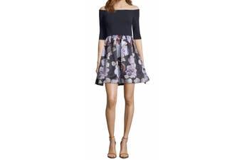 Betsy & Adam Women's Dress Blue Size 4 A-Line Floral Off Shoulder