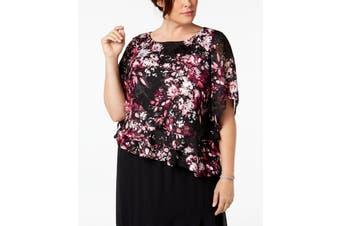 Alex Evenings Women's Black Size 1X Plus Tiered Floral Print Blouse