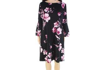 Lauren by Ralph Lauren Women's Dress Black 6 Shift Floral Bell Sleeve