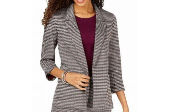 Nine West Women's Blazer Red Size Large L Houndstooth Open-Front
