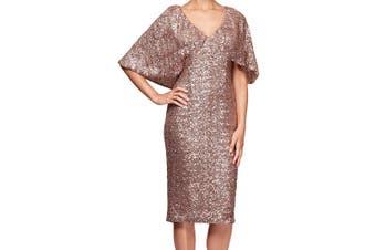 Alex Evenings Women's Dress Pink Size 8P Petite Sheath Sequin Capelet