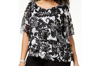 Alex Evenings Women Black Size 2X Plus Floral Print Asymmetric Blouse