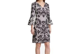 DKNY Women's Dress Black Size 6 Sheath Floral Print Bell Sleeve