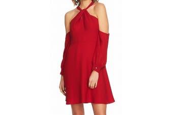 CeCe Women's Dress Red Size 10 Cold Shoulder Lace Back A-Line Flare