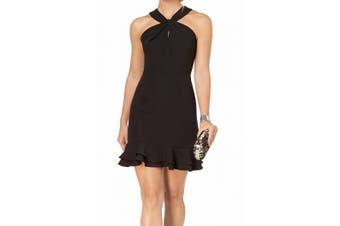 19 Cooper Women's Dress Black Size Large L Sheath Open Lace-Back