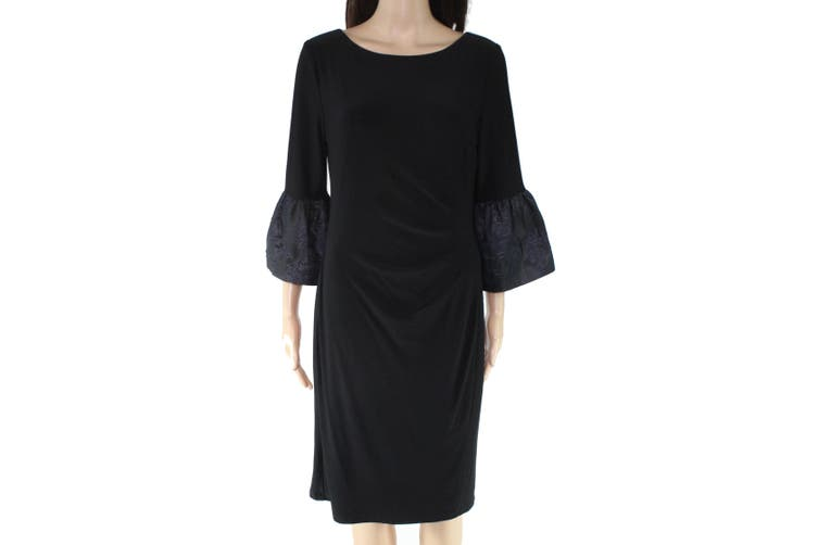 Lauren By Ralph Lauren Women's Black Size 10 Bell Sleeve Sheath Dress