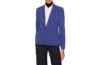 Anne Klein Women's Jacket Blue Size 8 Shawl-Collar One-Button Blazer