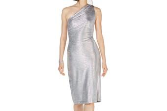 Connected Apparel Women's Dress Silver 6 Sheath One Shoulder Metallic