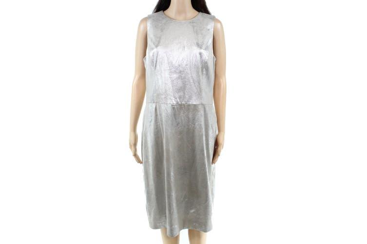 Lauren by Ralph Lauren Women's Dress Gray Size 14 Sheath Faux-Suede