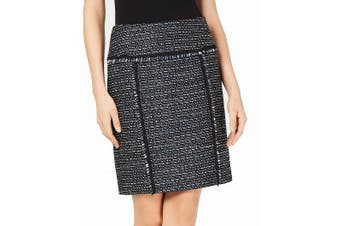 Anne Klein Women's Skirt Blue Black Size 14 Straight Tweed Fringe