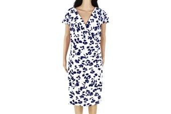 Lauren By Ralph Lauren Women's Dress White Size 14 Surplice Floral