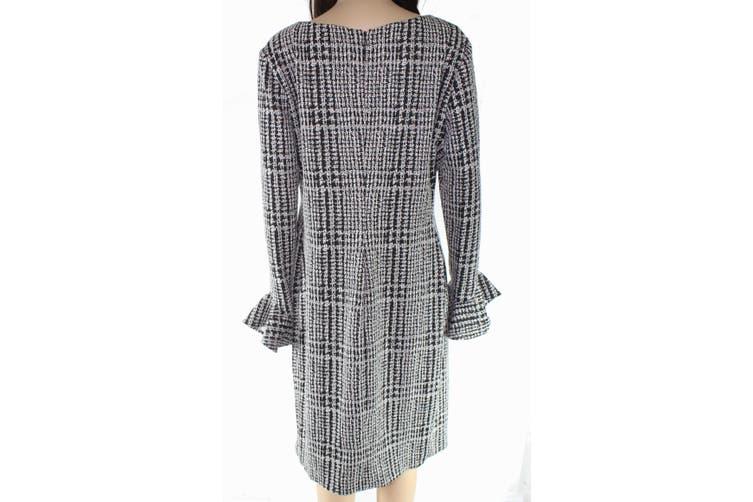 Lauren By Ralph Lauren Women Dress Black 14 Tweed Surplice Bell-Sleeve