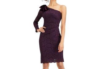 Jessica Howard Women's Dress Purple Size 14 Sheath Floral Lace Bow