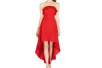 19 Cooper Women's Dress Lipstick Red Size Large L A-Line Crepe High Low