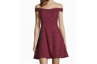 Betsy & Adam Women's Dress Red Size 8 A-Line Off-Shoulder Sparkle