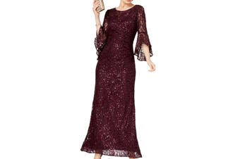 Nightway Women's Dress Purple Size 6 Bell Sleeve Shimmer Lace Gown