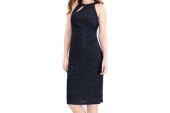 MSK Women's Dress Blue Size 10 Shimmer Halter Cut Out Ruched Sheath