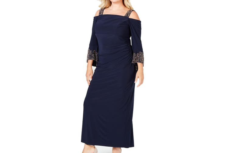 Betsy & Adam Women's Dress Blue Size 14W Plus Cold Shoulder Bling Gown