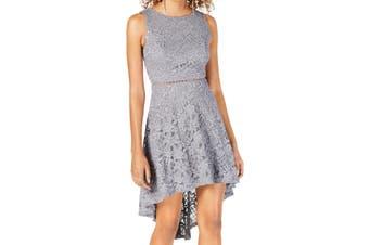 City Studio Dress Silver Size 0 Junior A-Line Lace Glitter High Low