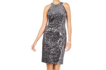 Nightway Women's Dress Charcoal Silver Size 4 Sheath Sequin Split-Hem