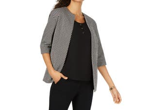 Anne Klein Women's Topper Jacket Black Size 8 Open Front Jacquard
