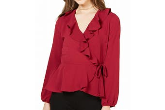 BCX Junior's Solid Burgundy Red Size Large L Ruffled Belted Wrap