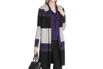 Calvin Klein Women's Sweater Purple Size PXS Petite Striped Cardigan
