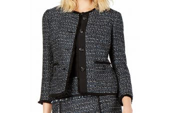 Anne Klein Women's Topper Jacket Blue Black Size 12 Tweed Fringe Trim