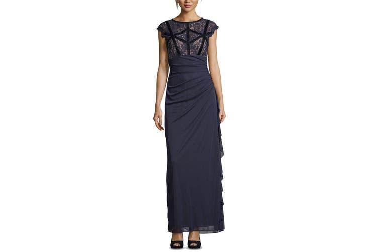 Betsy & Adam Women's Dress Blue Size 2P Petite Velvet Trim Gown