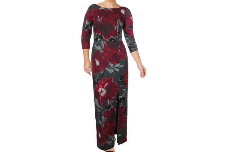 Kay Unger Women's Dress Gray Size 2 Floral Crepe Side Slit Gown