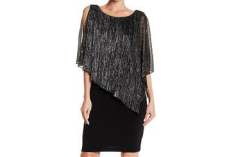 Connected Apparel Women's Dress Black Size 6 Sheath Metallic Cape