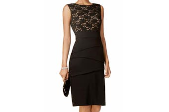 Connected Apparel Black Women's Size 10 Tiered Lace Sheath Dress