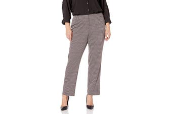 Nine West Womens Dress Pants Gray Red Size 14W Plus Stretch Houndstooth