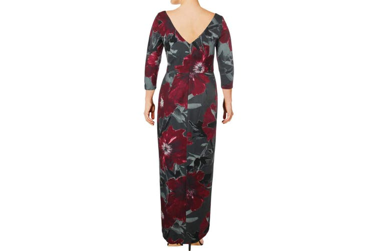 Kay Unger Women's Dress Red Gray Size 8 Floral-Print Slit Gown