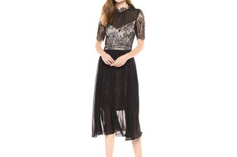 Avec Les Filles Women's Dress Black Size 4 Sheath Sheer Lace Eyelash