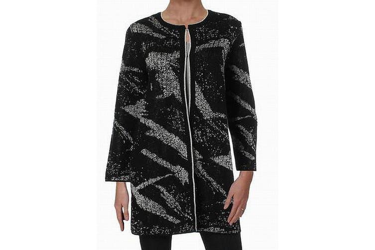 Kasper Women's Sweater Black Size Large L Shimmer Open Front Cardigan