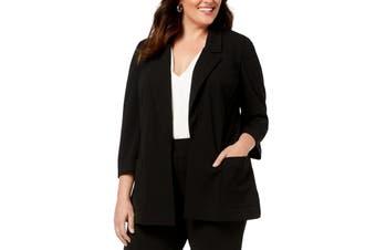 Nine West Women's Jacket Black Size 3X Plus Notched-Collar Flyaway