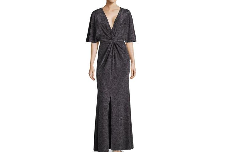 Betsy & Adam Women's Dress Silver Size 8 Sparkle Twist Front Maxi