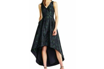 Aidan Mattox Women's Dress Green Size 8 A-Line High Low Shimmer
