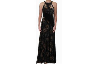 Aidan Mattox Women's Dress Black Size 4 Velvet Burnout Floral `Maxi