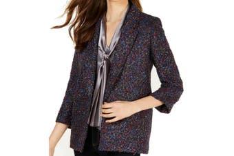 Nine West Women's Coat Purple Size XL Boucle Notch-Collar Open-Front