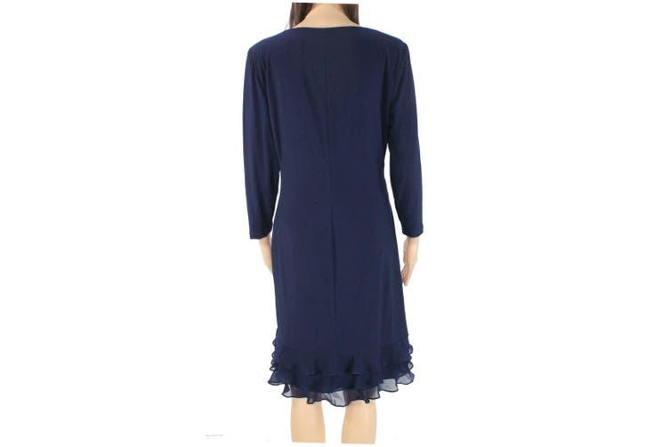 Lauren By Ralph Lauren Women's Dress Midnight Blue Size 16 Sheath