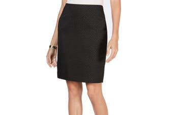 Anne Klein Women's Skirt Black Size 2 Straight Pencil Pin-Polka-Dots